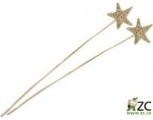 Dekorace - Lata ve tvaru hvězdy 8 cm na tyčce - přírodní 2 ks