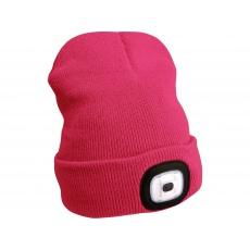 Čepice s čelovkou 45Im, nabíjecí, USB, růžová