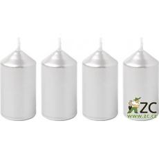 Svíčka adventní 40x75 mm - metalická stříbrná (4ks)