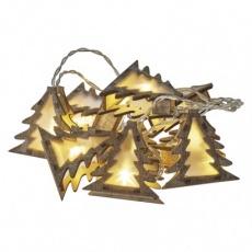 LED vánoční girlanda – stromky 3D, 2× AA, teplá b., časovač