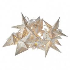 LED vánoční girlanda – hvězdy, 2× AA, teplá bílá, časovač
