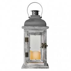 LED dekorace – lucerna dřevěná, 3x AAA, šedá, vintage,
