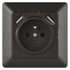 Zásuvka s USB 2,1A max., antracit