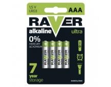 Alkalická baterie RAVER AAA (LR03) - 4ks