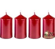 Svíčka adventní 40x75 mm - metalická červená (4ks)