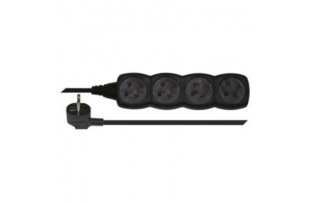 Prodlužovací kabel – 4 zásuvky, 3m, černý