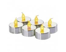 LED dekorace – 6× čajová svíčka stříbrná, 6× CR2032