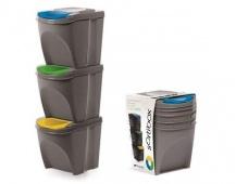 Sada odpadkových košů SORTIBOX 25L 3 ks, šedý kámen