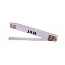 Metr skládací 2m JAN (PROFI, bílý, dřevo)