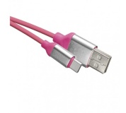 USB kabel 2.0 A/M - C/M 1m růžový