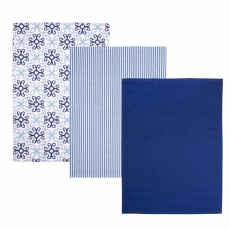 Utěrka kuch. bavlna BLUE SHAPES  3ks
