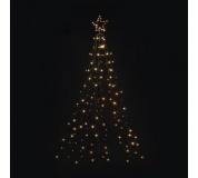 LED vánoční kovový strom, 180cm, venkovní, teplá bílá, čas.