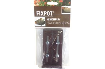 Držák truhlíku parapet - Fixpot kovový čokoládový (2ks)
