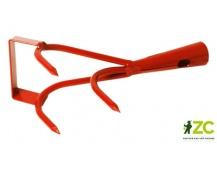Kypřič 3 hrotý bez násady s nožem Rosteto - oranžová