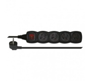Prodlužovací kabel s vypínačem – 4 zásuvky, 3m, černý