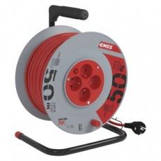 PVC prodlužovací kabel na bubnu – 4 zásuvky, 50m, 1,5mm2