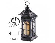 LED dekorace – lucerna černá, 3× AAA, blikající, časovač
