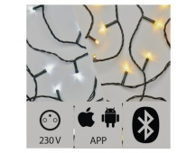 Aplikací ovládaný LED vánoční řetěz, 24m, venkovní, st./t.b.
