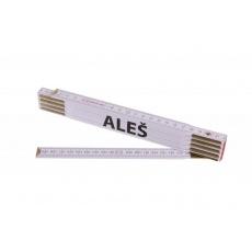Metr skládací 2m ALEŠ (PROFI, bílý, dřevo)