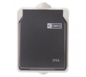 Zásuvka nástěnná, šedo-černá, IP54