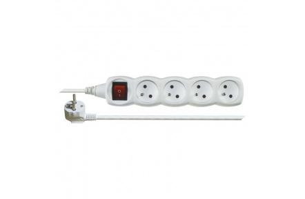 Prodlužovací kabel s vypínačem – 4 zásuvky, 3m, bílý