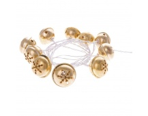 LED girlanda – zlaté rolničky, 2×AA, teplá bílá, časovač