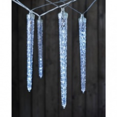 LED vánoční girlanda – 10× rampouch, studená bílá