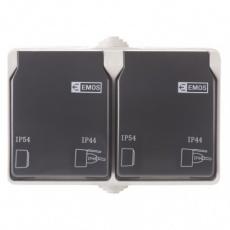 Zásuvka SCHUKO nástěnná dvojitá, šedo-černá, IP44
