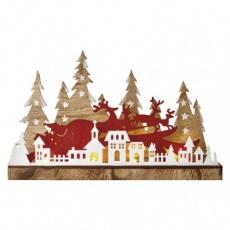 LED vánoční městečko, 45×28cm, 2× AA, vnitřní, teplá bílá