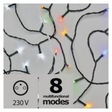 LED vánoční řetěz 2v1, 10m, studená bílá/multicolor,programy