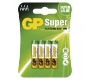 Alkalická baterie GP Super AAA (LR03) - 4ks