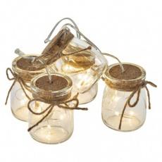 LED girlanda – 5× skleničky, 3× AA, teplá bílá, časovač