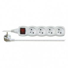 Prodlužovací kabel s vypínačem – 4 zásuvky, 10m, bílý
