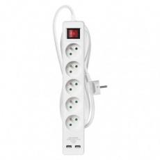 Prodlužovací kabel s vypínačem – 5 zásuvek, 3m, bílý, 2× USB