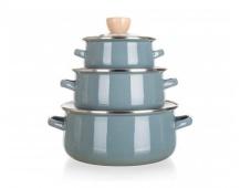 BANQUET Sada smaltovaného nádobí NATURAL Olive, 6 ks