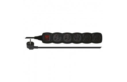 Prodlužovací kabel s vypínačem – 5 zásuvek, 3m, černý