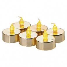 LED dekorace – 6× čajová svíčka zlatá, 6× CR2032