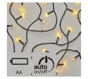 LED vánoční řetěz, 3× AA, 2,8m, venkovní, teplá b., časovač