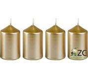 Svíčka adventní 40x60 mm - metalická bílé zlato (4ks)