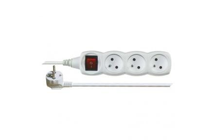Prodlužovací kabel s vypínačem – 3 zásuvky, 2m, bílý