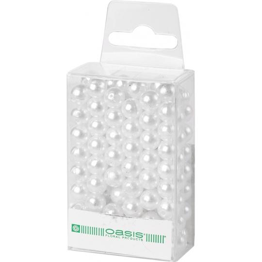Dekorační perly - 8 mm (144 ks) bílé