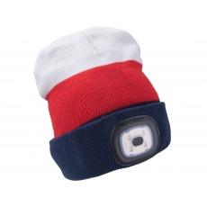 Čepice s čelovkou 4x45lm USB nabíjecí bílá/