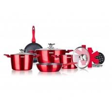 BANQUET Sada nádobí s nepřilnavým povrchem METALLIC RED, 12 ks