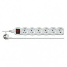 Prodlužovací kabel s vypínačem – 6 zásuvky, 3m, bílý