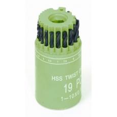 Sada HSS vrtáků 1-10mm (po 0. 5mm) 19ks válec-plast