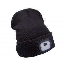 Čepice s čelovkou 4x25lm, USB nabíjení tm
