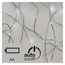 LED vánoční nano řetěz, 2× AA, 1,9m, studená bílá, časovač