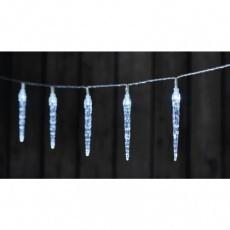 LED vánoční girlanda – 10× rampouch, 2× AA, stud.b., časovač