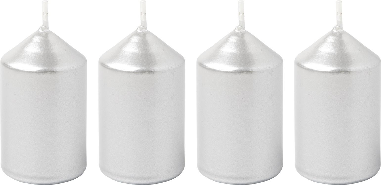 Svíčka adventní 40x60 mm - metalická stříbrná (4ks)