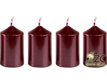 Svíčka adventní 40x60 mm - metalická bordó (4ks)